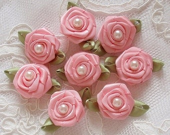 8 Handmade Ribbon Roses (1 inch) In Rose Pink MY-330-20 Ready To Ship