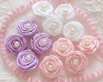 12 Handmade Ribbon Roses (5/8 inch)  MY-333-05 Ready To Ship