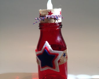 4th of July Milk Bottle Decor