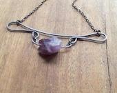 Amethyst & Polished Steel Necklace Unique Steampunk Jewelry Elegant Gemstone Jewelry - On Sale!
