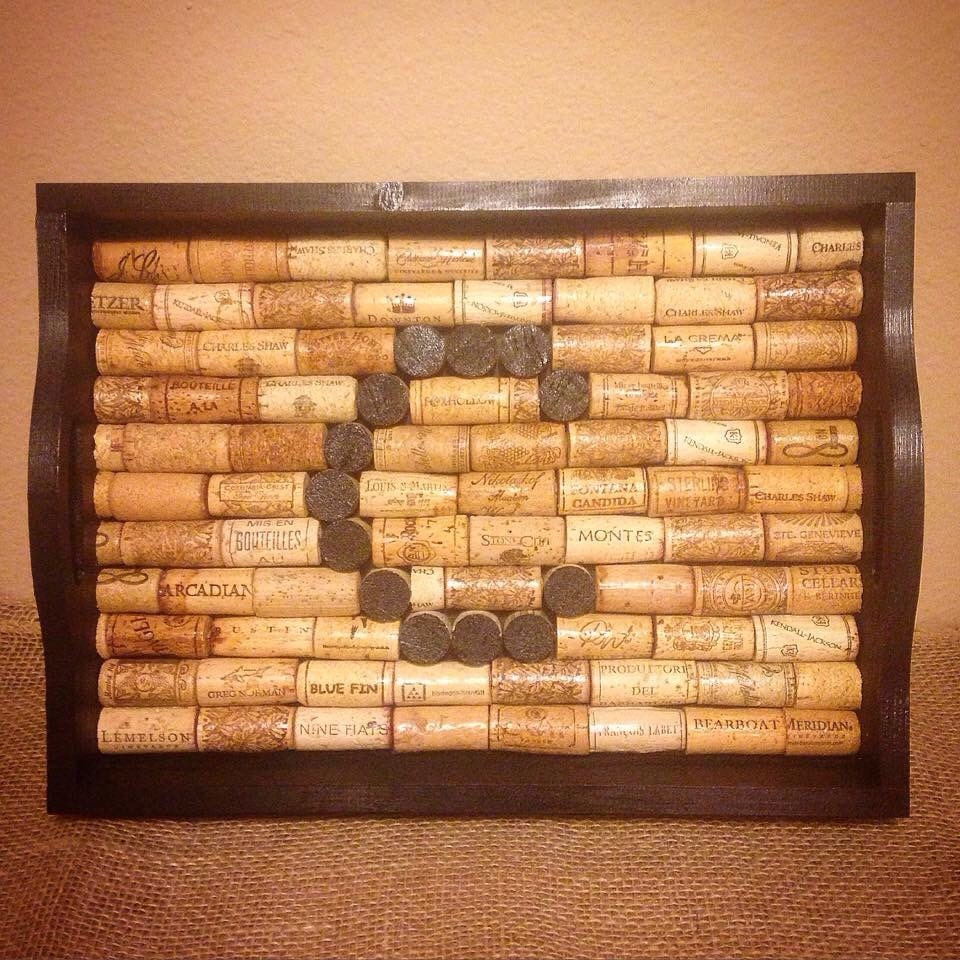 Fun Ways To Display Wine Corks: Wine Cork Monogram Tray-Wine Cork-Serving Tray-Display