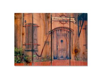 22x16 Old Chanlery on Cedar, Wood Door, Old South, Indoor Outdoor Safe Wall Hanging, Backyard Decor, Home Art (OS2216)