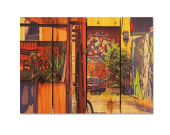 22x16 Italian Graffiti Garden, Indoor and Outdoor Safe, Wall Hanging Home Decor, Colorful Wood Art (GG2216)