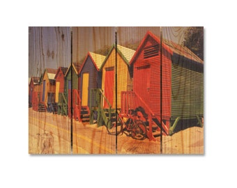 22x16 Ocean Cabana on Wood, Colorful Wall hanging, Indoor and Outdoor Safe Decor. (CB16240