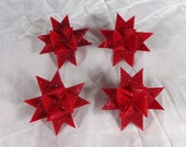 "CUSTOM ORDER Ten 4"" Red Stars with Gold Glitter Plus One White"