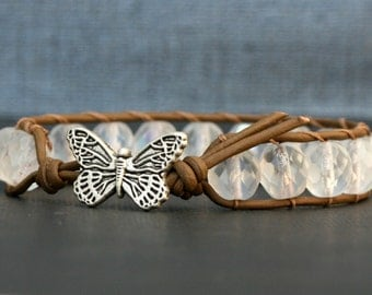 butterfly moth bracelet - frosted crystal and chocolate brown leather wrap bracelet - single wrap - boho glam