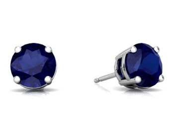 14Kt White Gold Blue Sapphire Round Stud Earrings