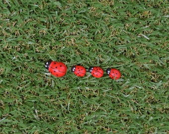 Mum and Babies family of four Lady Beetles for fairy garden, terrarium