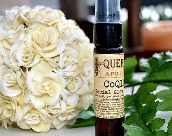 CoQ10 Glow Facial Serum -  with Squalane, Rooibos, Antioxidants, Pumpkin & Carrot Seed, Hyaluronic Acid - VEGAN