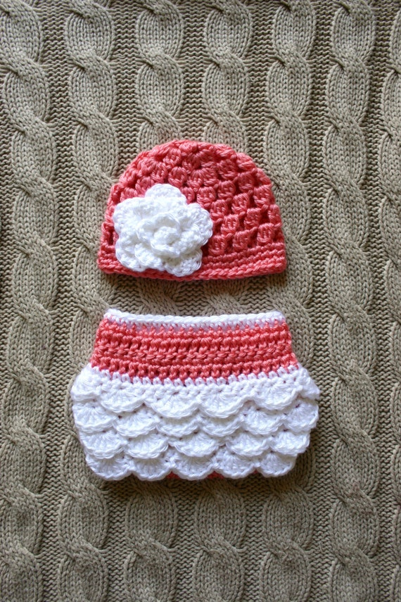 Book Cover Crochet Hat ~ Crochet newborn baby girl hat and diaper cover made to order