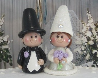 Bride and Groom Gnomes for Wedding Fairy Garden or Cake Topper OOAK handmade