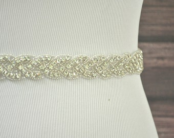 AUDREY Beaded Wedding Belt, Rhinestone Wedding Sash, Bridal Belt, Bridal Sash, Crystal Jeweled Belt, Crystal Rhinestone Sash, Dress Belt