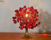 Table light with Red roses flowers, Romantic table lamp with metal wires for small table lamp.