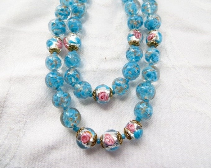 Venetian Necklace, Sommerso Beads Double Strand, Vintage Murano Glass Bead Necklace