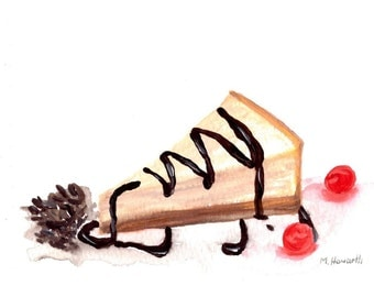 Cheesecake art,food art original watercolor painting, food illustration, desser painting, cake watercolour, 7 x 5