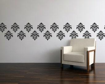 Damask Wall Stencils - Damask Wall Decal - Vinyl Damask 0008