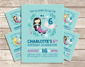 Mermaid Birthday Invitation, Our Little Mermaid, Under The Sea, Pool Party Invitation, Birthday Invitation - Printable