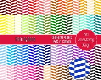 75% OFF Sale - 56 Digital Papers - Herringbone - Instant Download - JPG 12x12 (DP155)