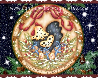 CC125 - Country Christmas Chicken Plate - Painting E Pattern by Cyndi Combs
