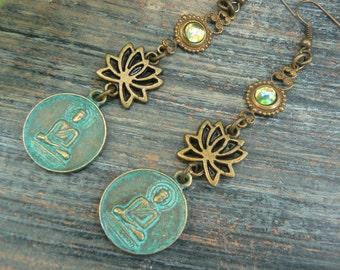 lotus flower buddha earrings spiritual earrings zen earrings buddha earrings pendant earrings ohm earrings in yoga boho gypsy style