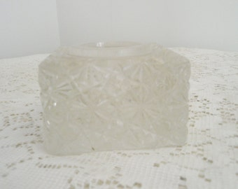 Thick Lead Glass Votive Candle Holder, Heavy Glass candle holder with starburst design