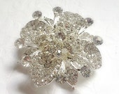 Silver Clear Rhinestone Brooch Flatback Embellishment or Pin Large Rhinestone Crystal Flower Broach for Wedding Brooch Bouquet Sash DIY sc6