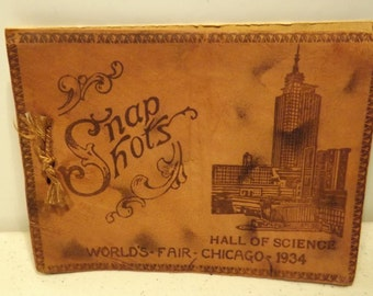 Leather Snap Shot Holder Chicago Worlds Fair 1934