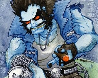 Lobo, DC Comic Supervillain, Antihero, Original Watercolor Painting