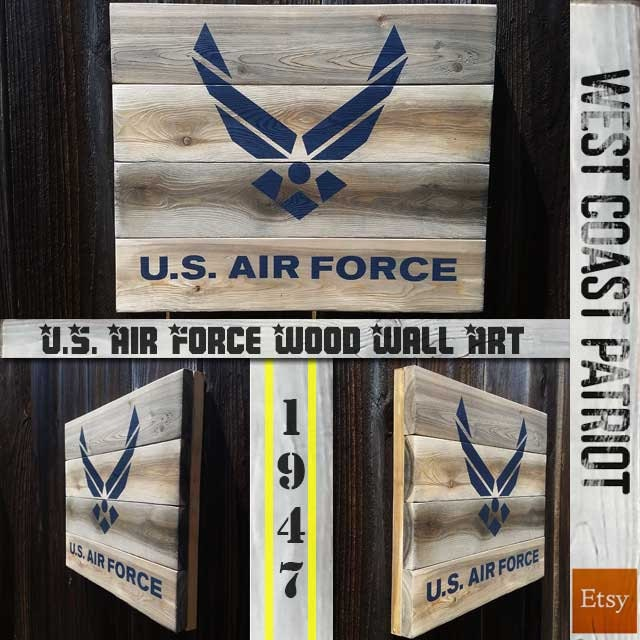 Usaf Wall Decor : U s air force symbol wood wall art