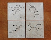 Chemistry of Drinks, Set of 4 Coasters - Beer, Gin, Whiskey, Vodka, Wine, Coffee, Tea, Absinthe, Scotch, Rum, Tequila,