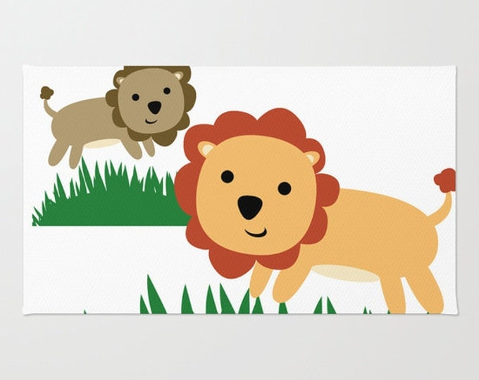 Lion Floor Rug - Door Rug  - Nursery Art Throw Rug  - 2 Lions Jungle Theme Rug - Bathroom Decor - Throw Rug - Made to Order