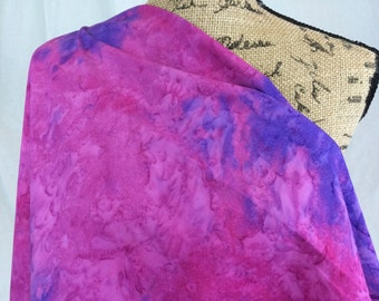 Hand Dyed Indonesian Batik Fabric--Made in Indonesian--Fuchsia and Violet Tie Dye Fabric--Batik Fabric by the HALF YARD