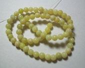 New Jade Beads, (natural), Olive, 5-6mm, Round, 15 inch Strand, Light Green Beads, Jade Beads, Round Beads, Beads Destash #8271