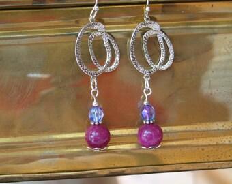 Purple Earrings, Plum Earrings, Silver Earrings, Stone Earrings, Silver Earrings, Purple Chandelier Earrings, Chandelier Earrings