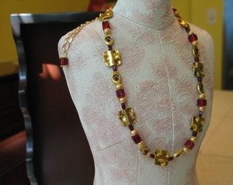 FSU Necklace, FSU, FSU Jewelry, Florida State Necklace, Seminoles Necklace, Garnet Gold Necklace