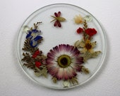 Shabby Chic Pressed Flower Coasters ~ Set of five