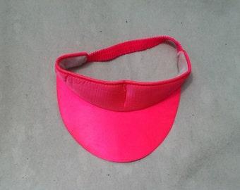 hot pink shiny sun visor hat