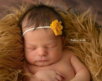 Baby Headband Yellow Tiny Flower Headband Photography Prop Pearl Elastic Photo Prop