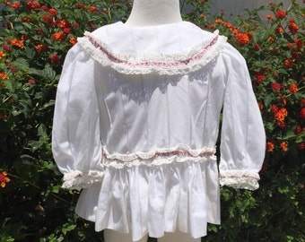 Handmade Baby Girl Dress Sz 12-18M White Pink Lace Flowers