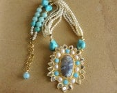 NEW!! Large Statement Pendant Necklace / Beaded Jewelry / Pearls/ Turquoise
