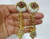 Kundan Earrings / Long Earrings / Jhumka style earrings with Pacchi work - White