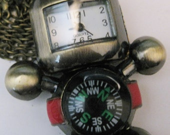 Robot Watch Pendant Necklace In Bronze with Compass