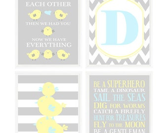 Baby Chick Nursery Wall Art, Personalized Prints, Initial Art, Boy Rules, Mom Dad Baby Art, Chick Family Prints, Gray Yellow Blue, Baby Gift