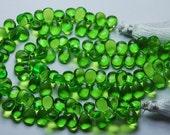 1 Match Pair,Peridot Green Quartz Smooth Pear Shape Briolette, Size 7X10 mm