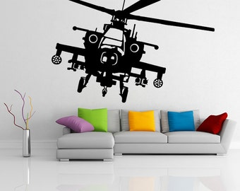Vinyl Wall Decal Army Helicopter Design / War Machine Art Decor Removable Sticker / Military Flying Plane Mural + Free Random Decal Gift