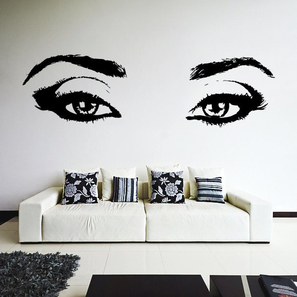 Vinyl Wall Decal Realistic Womens Eyes Silhouette  Sexy Teens - Wall decals eyes