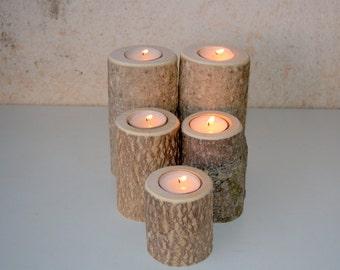 5 Wood Candle Holders - Wood Log Holders - White Tree Candle Holders - Wedding Decoration - Home Decoration