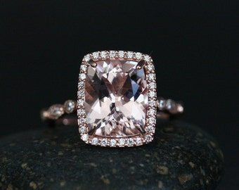 Fine Flawless Morganite Cushion and Diamond Halo Engagement Ring in 14k Rose Gold with Morganite Cushion 11x9mm