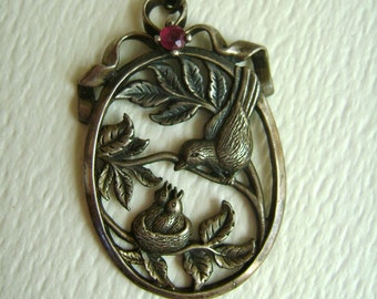 Franklin mint 1984 sterling pendant, sweet birds