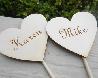 Personalized Heart Cake Topper. CHOOSE YOUR WORDS. Custom Rustic Wedding Decoration, Shower. Custom Orders Welcome